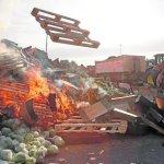 Agricultores franceses atacan un camión de Lorca y vuelcan la carga