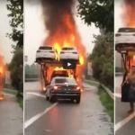 Vídeo: camionero salva uno de los coches de un camión en llamas