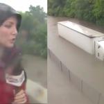 Una reportera que cubría el huracán Harvey salva la vida de un camionero en directo