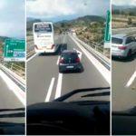 Los tocacojones del verano. Un automovilista frenó en seco a un tráiler al paso de un autobús de pasajeros