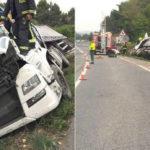 Pierde la vida el acompañante al salirse el camión de la vía en la N-121 cerca de Pueyo