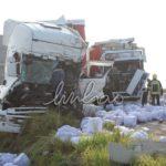 La colisión en cadena de tres camiones provoca 16 españoles heridos en la A6 Portugal