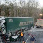 Heridos graves dos camioneros de 21 y 50 años en un violento choque frontal en la RD 1508 Francia