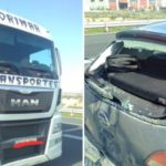 Independentistas hacen campaña contra la empresa del camión que colisionó contra un coche en la A-2