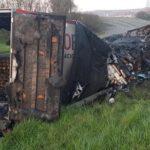 Arde un camión español dejando 24t de jamón carbonizadas debido a un sobrecalentamiento de los frenos
