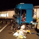 Accidente entre dos camiones en la AP-7 en Maçanet de la Selva