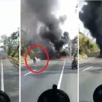 Buscan a un conductor que salvó in extremis de las llamas a un camionero que se estrelló