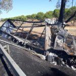Muere carbonizado un camionero de Montijo de 60 años, al chocar el camión que conducía contra un árbol e incendiarse en Ourique