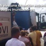 Mujeres y niños evacuados en camiones tras la situación extrema en Levante