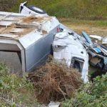 Trasladado en helicóptero un camionero que transportaba cerdos tras volcar en Zamora