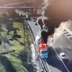 Terrible incendio de un camión en la M-40