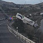 Herido un camionero tras sufrir un aparatoso accidente de tráfico en Ulea