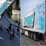 Un camión español bloquea durante horas el trafico en un puente de Campomorone, Italia
