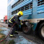 Se incendia un camión que transportaba ganado por la fricción de una rueda con la carrocería en la A50 Aldebarán