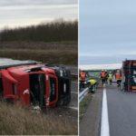Un camionero herido tras el vuelco de un camión de (SJL) San José López en la A-26 Francia