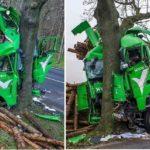 Un camionero milagrosamente herido leve, tras colisionar su camión contra un árbol en la B-87 Alemania