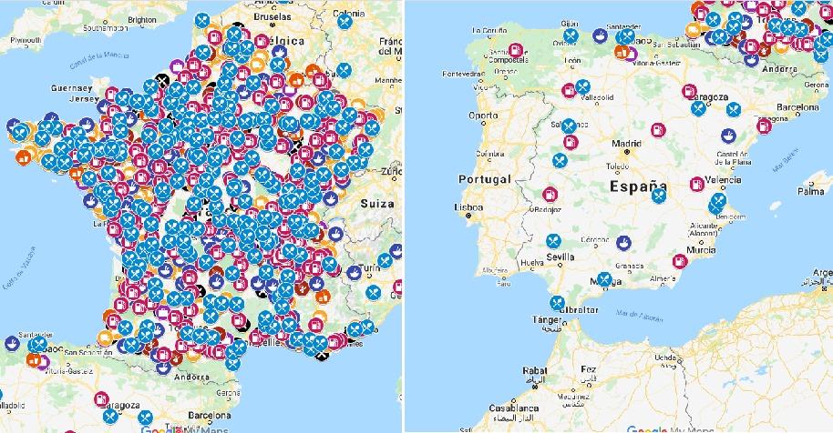 Los restaurantes y gasolineras que prestan servicio a los camioneros en España y Francia según Unostra (Mapa interactivo)