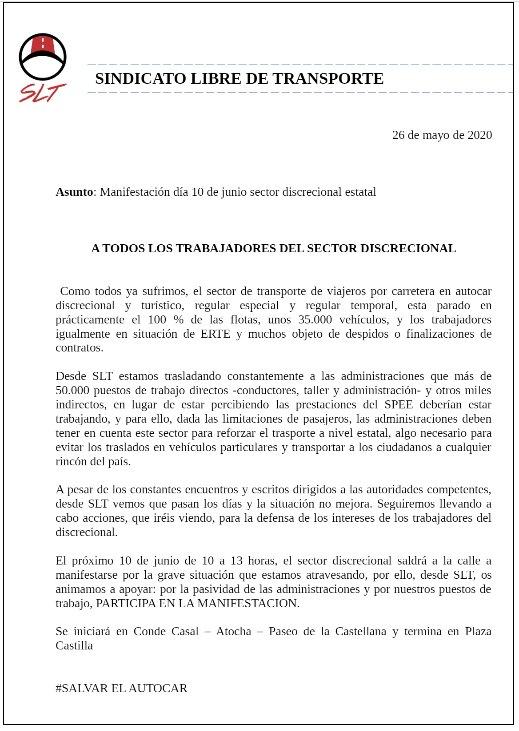 El sector del autocar convoca una manifestación para el 10 de junio «35.000 vehículos parados, 35.000 familias afectadas»