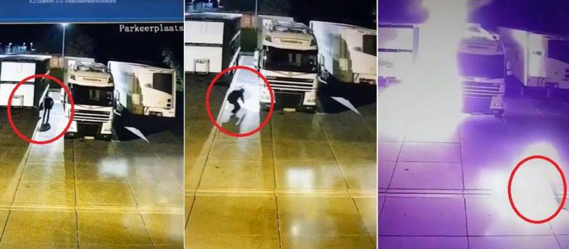 Un antitaurino se prendió fuego accidentalmente al quemar varios camiones en un matadero de los  Países Bajos
