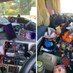La policía detiene al conductor de un camión camión con tanta basura en la cabina, que apenas podía ver