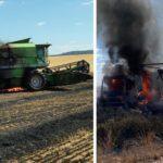 Una cosechadora provoca un incendio y arde hasta el camión que transportaba la carga