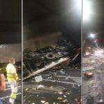 Tres heridos al colisionar dos camiones y tres coches en el túnel de Bracons