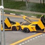 Vídeo. Un Lamborghini Aventador amarillo se estrella contra… otro Lamborghini Aventador amarillo