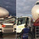 Un camión cisterna lleno de combustible choca con un avión en el aeropuerto de Moscú