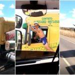 «Un descerebrado maneja un camión con una pierna fuera». Investigado tras publicar el vídeo en redes sociales