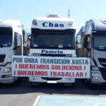 Transportistas de Endesa concentran un centenar de camiones como protesta por la falta de trabajo para el colectivo
