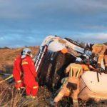 Un camionero de 30 años muere y su hermano herido, al salirse de la N-122 y volcar cerca de Tarazona