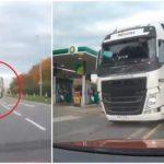 Terrible momento en el que un camionero se desmaya al volante y el camión invade el sentido contrario (Video)
