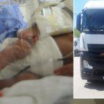 Camioneros rumanos se movilizan para salvar al bebé recién nacido de un compañero.