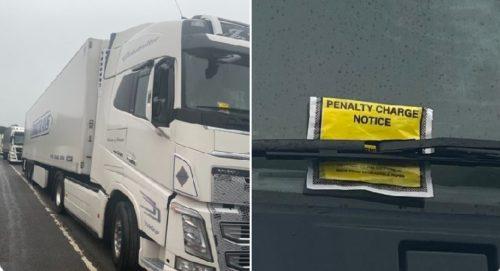 Los conductores de los camiones aparcados en las carreteras de Kent sancionados con multas de estacionamiento