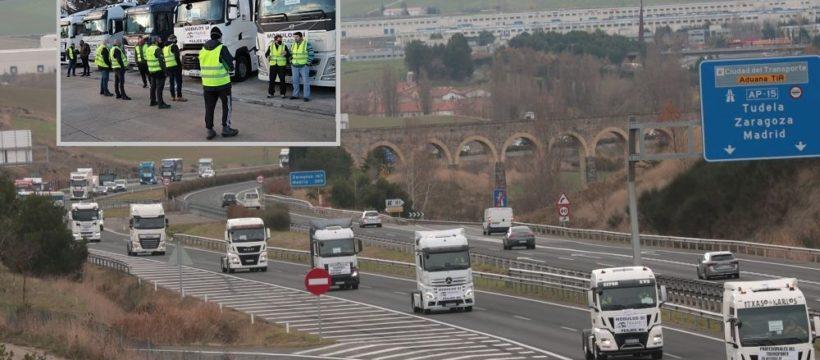Más de 120 camiones protestan por Pamplona por el cambio de tributación de autónomos