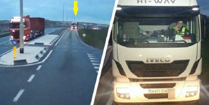 Un camionero filmado adelantando por la separación de hormigón que delimita ambos sentidos en Rotterdam