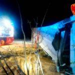 Un herido grave en otro aparatoso choque entre dos camiones en la NII,  Pina de Ebro