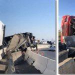 Joven conductor muerto, tras ser proyectado a través del parabrisas del camión en Autostrada Vestului
